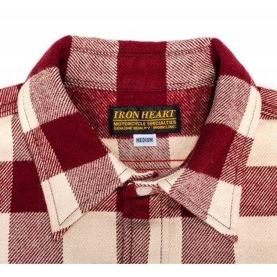 Ultra Heavy Buffalo Check Work Shirt - Maroon/Cream