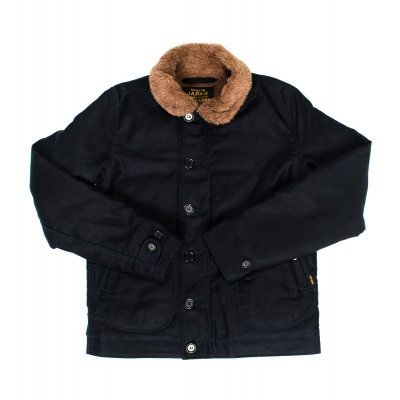 Alpaca Lined Whipcord N1 Deck Jacket - Black, Khaki and Navy