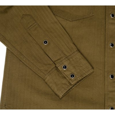 9oz Organic Selvedge Olive Cotton Herringbone