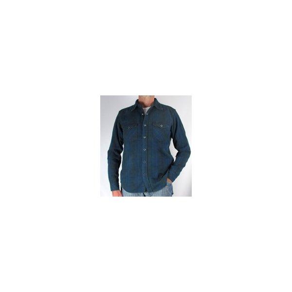 Indigo Overdyed Cotton Flannel Western Shirt