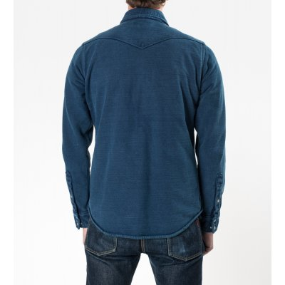Indigo Overdyed Extra Heavy Jersey Knit Western Shirt