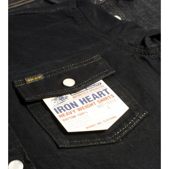 13.5oz Overdyed Indigo Denim Western Shirt With Side Pockets