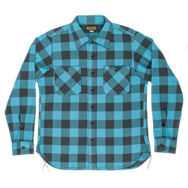 Turquoise/Grey Ultra Heavy Buffalo Check Work Shirt