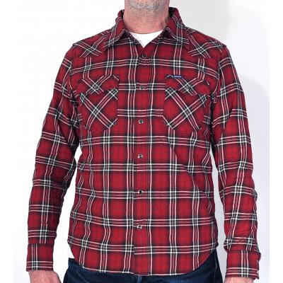 Metallic Thread Flannel Western - Red