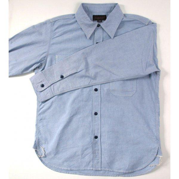 Selvedge Oxford Cotton Work Shirt - Pale Blue & White