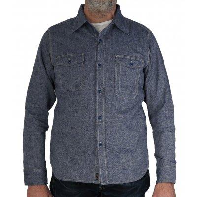 Cotton/Linen Herringbone Work Shirt - Blue & Black