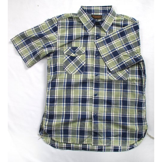 Lightweight Cotton Short Sleeved Work Shirt - Blue & Green