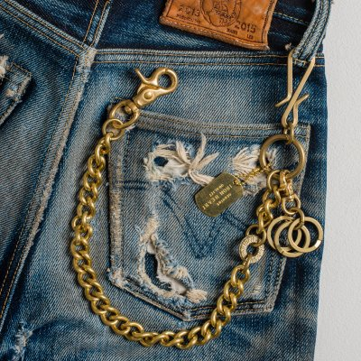 Wallet Chain with Hook and Rings - Brass