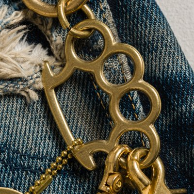 Wallet Chain with Rings and Clip - Brass