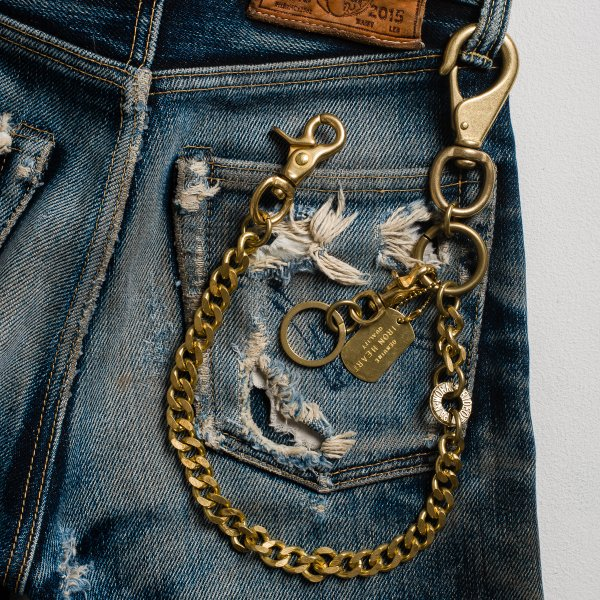 Brass Wallet Chain with Large Clip and Rings