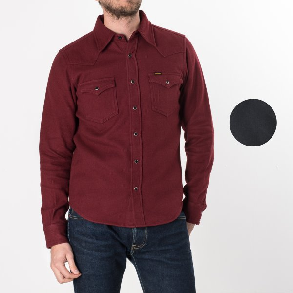 Burgundy or Charcoal Ultra Heavy Plain Flannel Western
