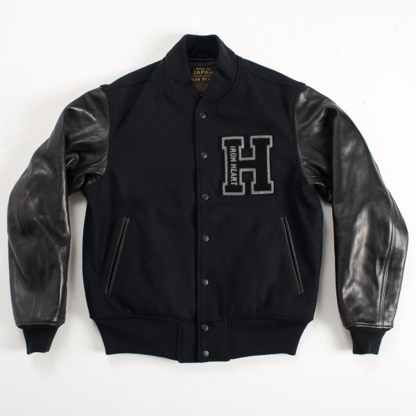 Black Selvedge Melton Wool and Horse Hide Varsity Jacket