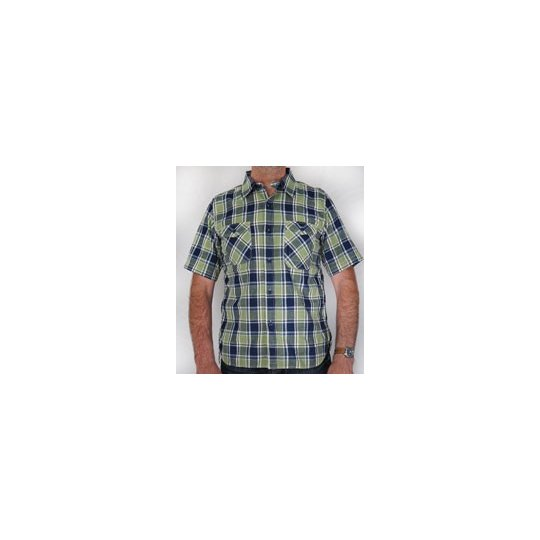 TW - Light Weight Cotton Short Sleeved Work Shirt - Blue & Green