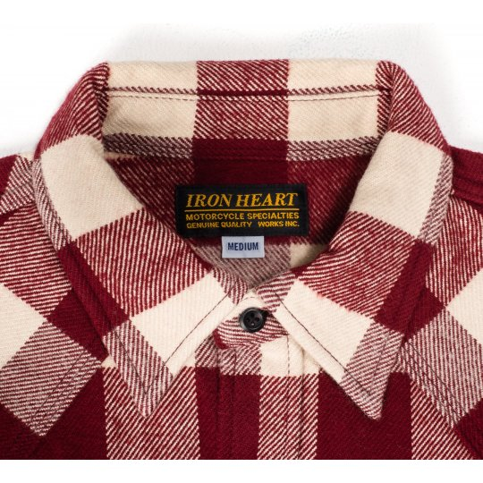 Ultra Heavy Buffalo Check Western Shirt - Maroon/Cream