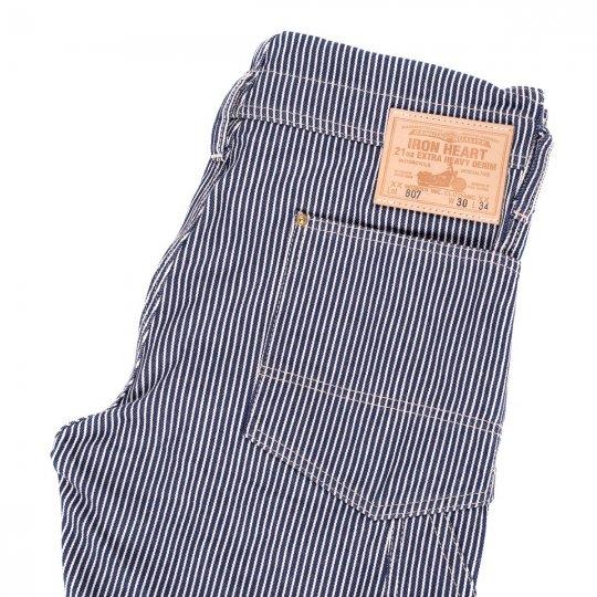 Indigo 12oz Hickory Stripe Double Knee Overalls