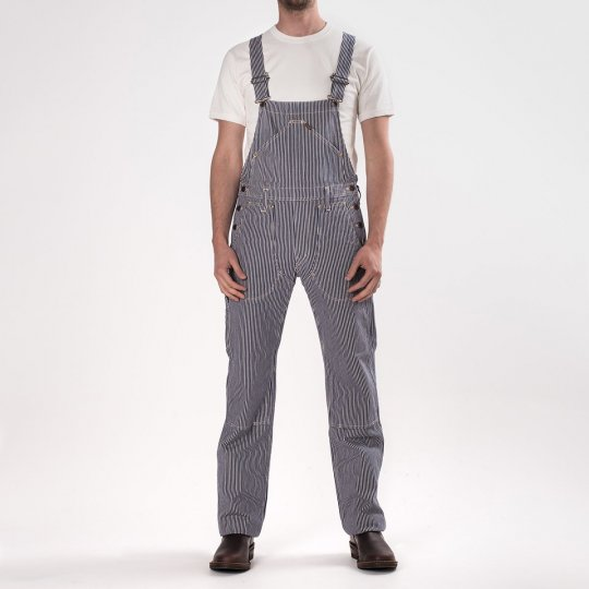 Indigo 12oz Hickory Stripe Double Knee Overalls