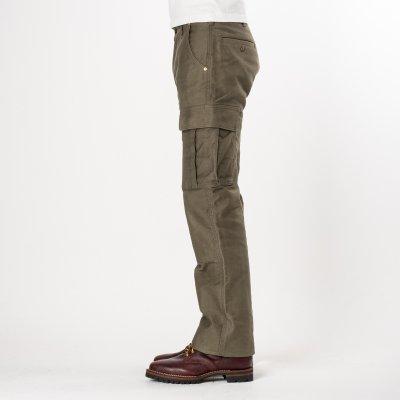 Olive Heavy Cotton Satin Cargo Pants
