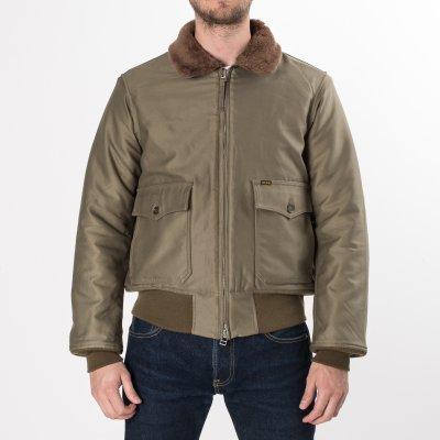 Olive Cotton Satin B-10 Type Flight Jacket