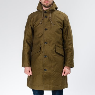 Olive Alpaca Lined Whipcord N1 Deck Coat
