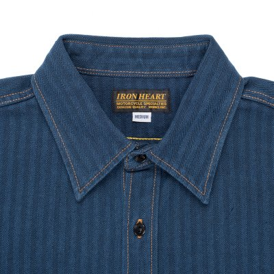Indigo Heavy Herringbone Single Pocket Work Shirt