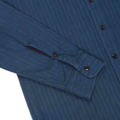 Indigo Heavy Herringbone Single Pocket Work Shirt with Tonal Stitching