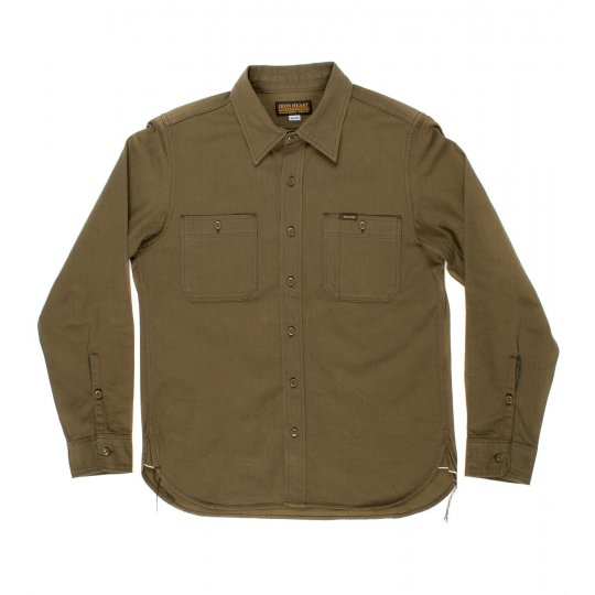 Charcoal or Olive 9oz Organic Selvedge Herringbone Work Shirt