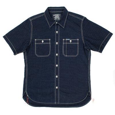 Indigo/Indigo Pinstripe 7oz Chambray Short-Sleeved Work Shirt