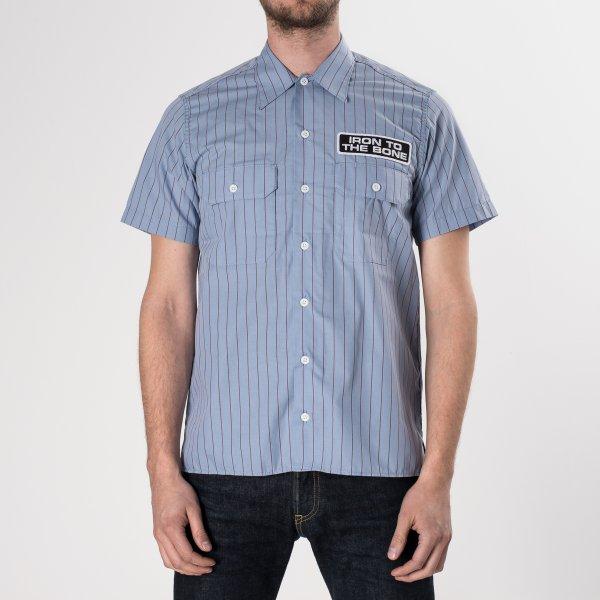 Light Blue Striped Mechanic's Shirt