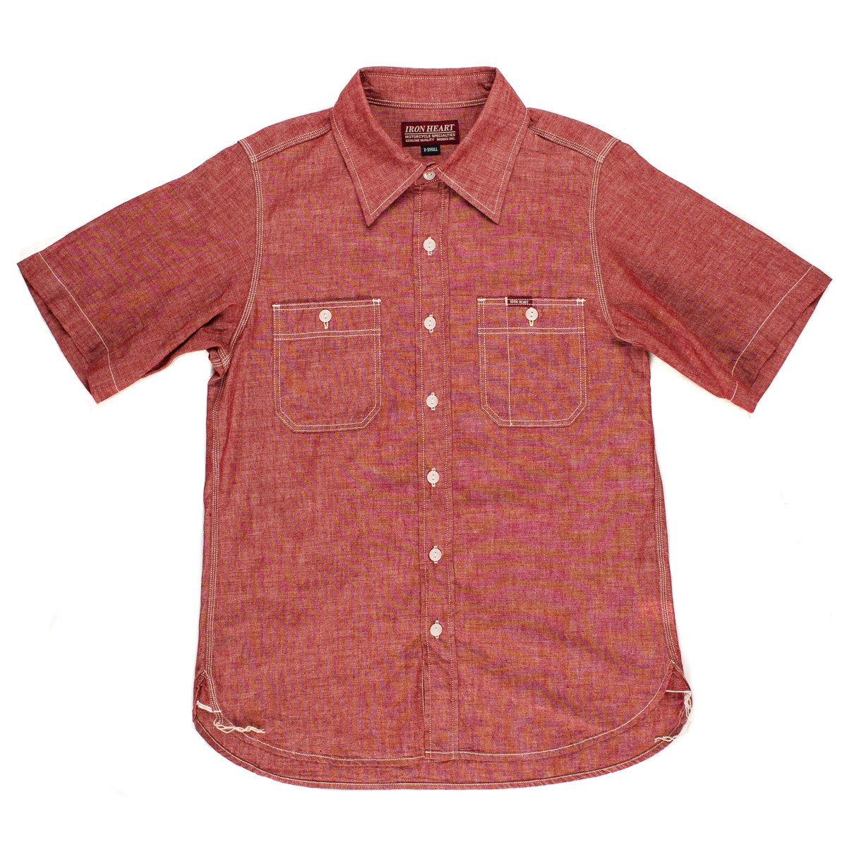 44ceae9848 Red or White Chambray Short-Sleeved Work Shirt
