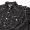 Black or Indigo 7oz Pinstripe Chambray Short-Sleeved Western
