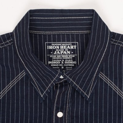 Black or Indigo 7oz Pinstripe Chambray Short-Sleeved Western