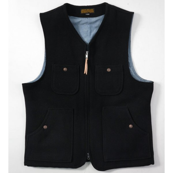 Chambray Lined Black Melton Wool Work Vest