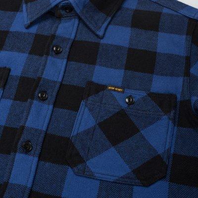 Blue/Black Ultra Heavy Flannel Buffalo Check Work Shirt