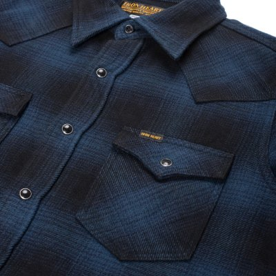 Blue/Black Ultra Heavy Flannel Ombré Check Western