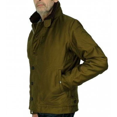 Whipcord Deck Jacket - Olive & Black