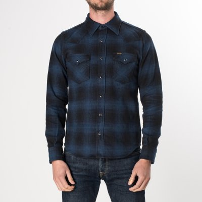Blue/Black Ultra Heavy Flannel Ombré Check Western