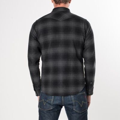 Grey/Black Ultra Heavy Flannel Ombré Check Western