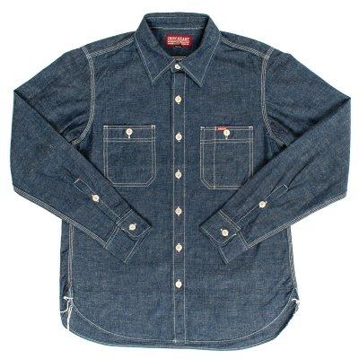 Indigo/Grey or White 7oz Selvedge Chambray Work Shirt