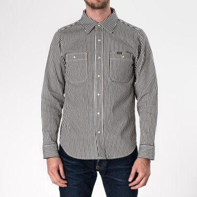 Indigo 12oz Hickory Stripe Work Shirt With Snaps