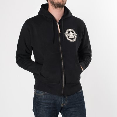 IHSW-25 - Black Ultra Heavy Hooded Sweat with Off-White Print