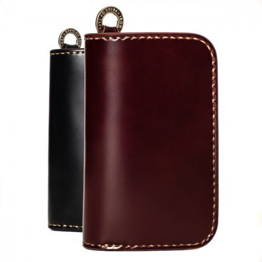 Medium Shell Cordovan Wallet - Black & Oxblood