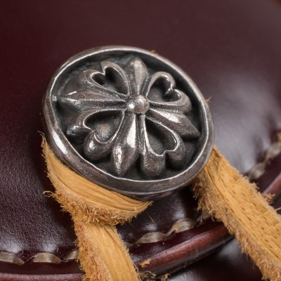 Folding Shell Cordovan Coin Holder w/silver Concho - Black & Oxblood