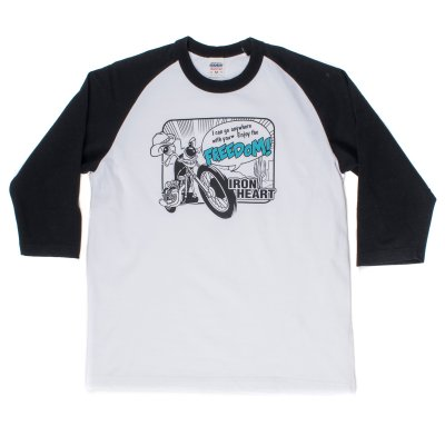 """Crazy Bike"" Printed Loopwheel Baseball Shirt"