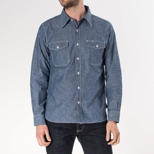 Indigo US Navy Style 5.5oz Selvedge Chambray Shirt