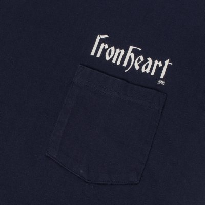 Navy 7.5oz Printed Crew Neck Loopwheeled Pocket T-Shirts