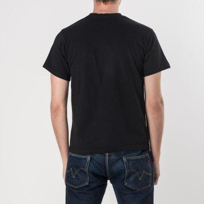 Black 7.5oz Printed Crew Neck Loopwheeled Pocket T-Shirts