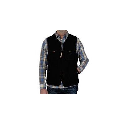 Chambray Lined Black Melton Wool Work Vest