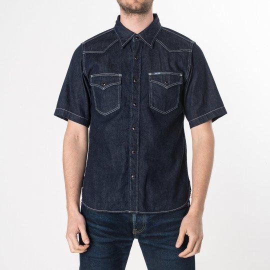 Indigo 7oz Selvedge Denim Short-Sleeved Western Shirt