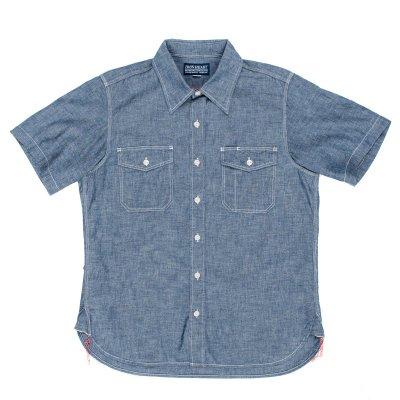 Indigo US Navy Style 5.5oz Selvedge Short Sleeved Chambray Shirt