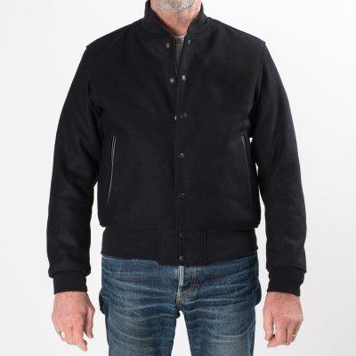 Black Selvedge Melton Wool Varsity Jacket